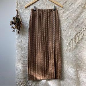 Vtg Woven Autumn Wrap Maxi Skirt